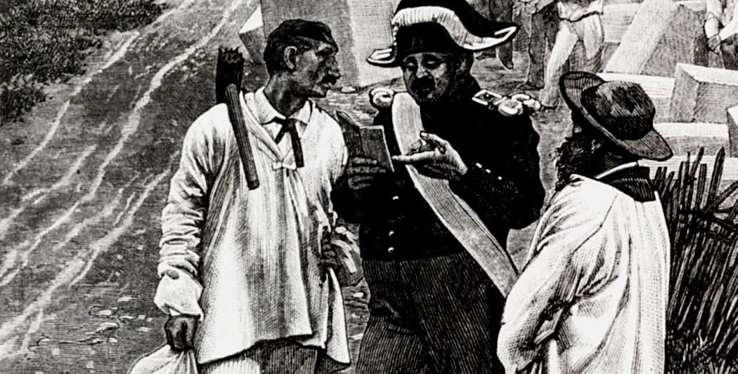 Gendarme vérifiant un livret ouvrier au XIXème siècle